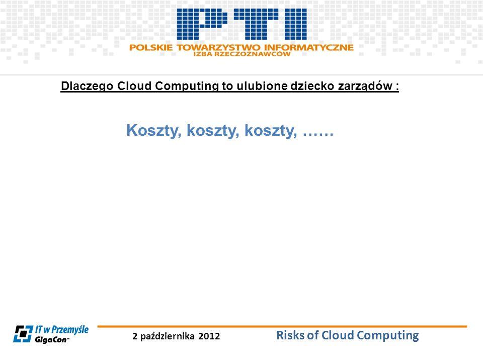 2 października 2012 Risks of Cloud Computing Dlaczego Cloud Computing to ulubione dziecko zarządów : Koszty, koszty, koszty, ……