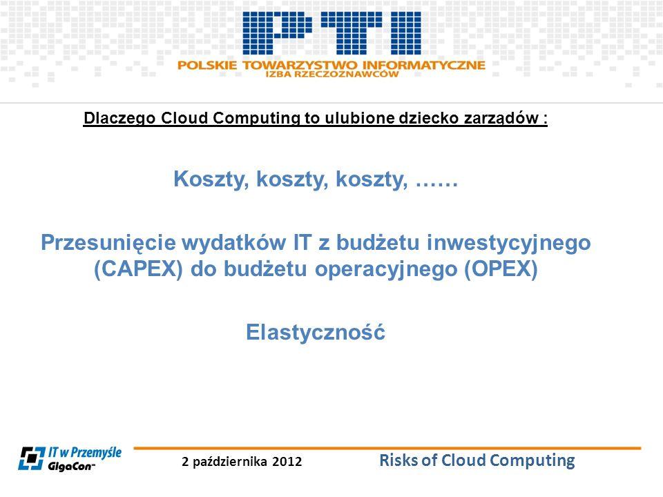 2 października 2012 Risks of Cloud Computing Dlaczego Cloud Computing to ulubione dziecko zarządów : Koszty, koszty, koszty, …… Przesunięcie wydatków