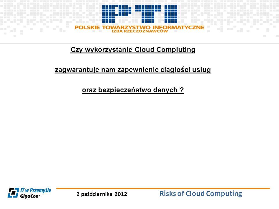 2 października 2012 Risks of Cloud Computing Czy wykorzystanie Cloud Compiuting zagwarantuje nam zapewnienie ciągłości usług oraz bezpieczeństwo danyc