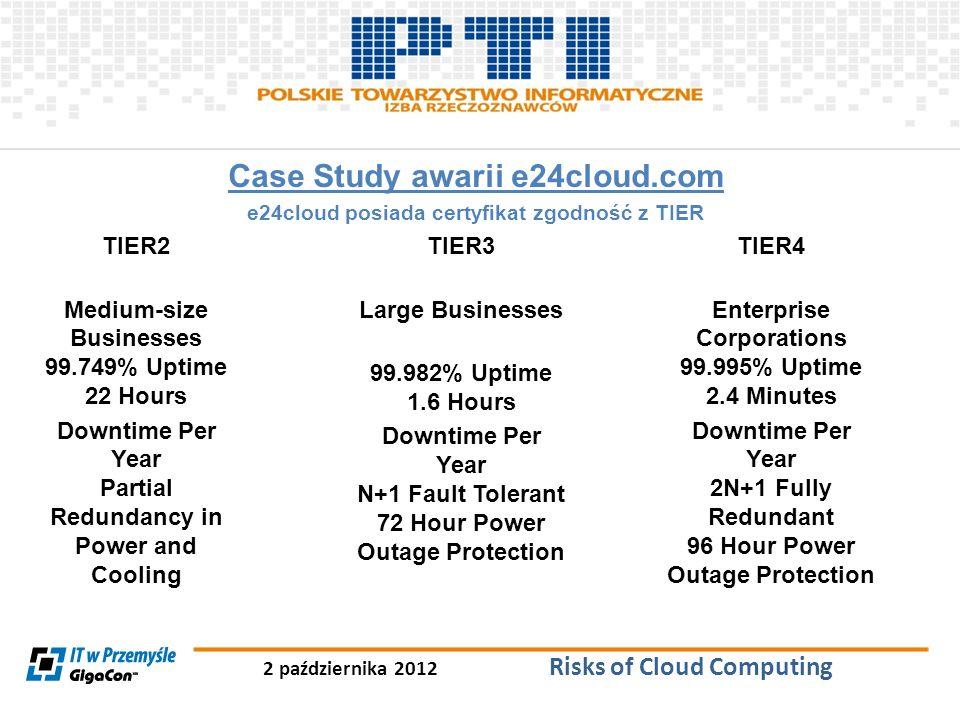 2 października 2012 Risks of Cloud Computing Case Study awarii e24cloud.com e24cloud posiada certyfikat zgodność z TIER TIER2 Medium-size Businesses 9