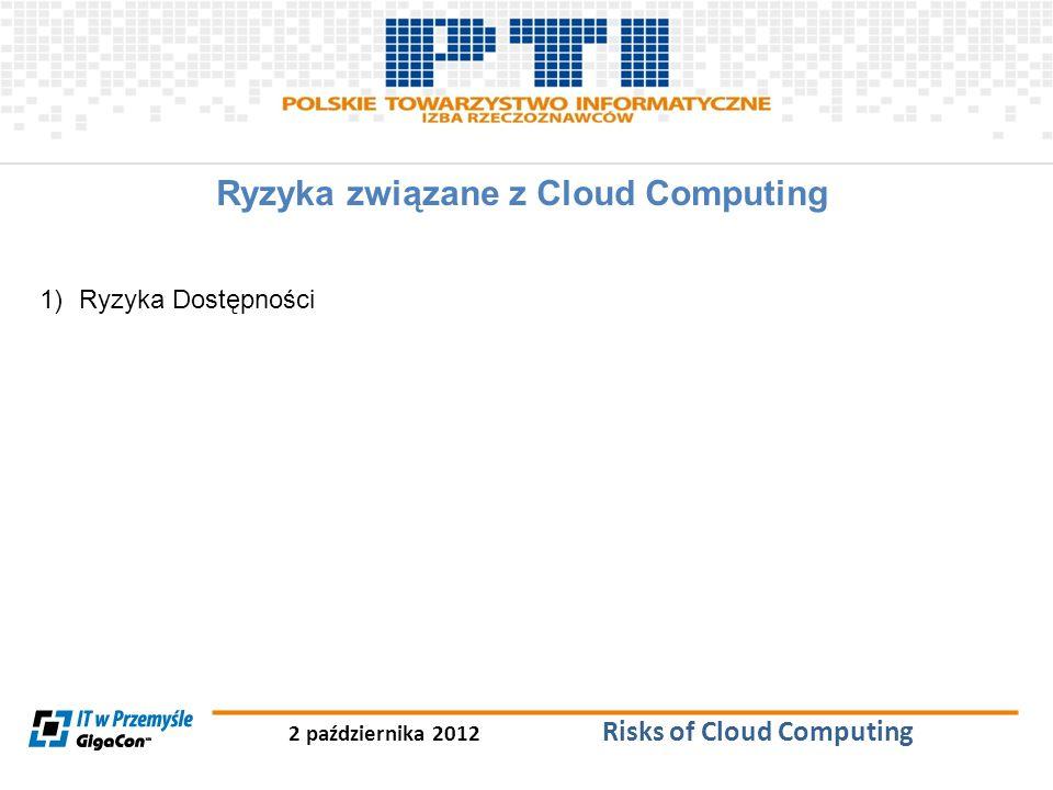 2 października 2012 Risks of Cloud Computing Ryzyka związane z Cloud Computing 1)Ryzyka Dostępności