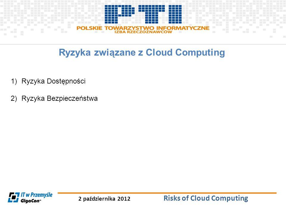 2 października 2012 Risks of Cloud Computing Ryzyka związane z Cloud Computing 1)Ryzyka Dostępności 2)Ryzyka Bezpieczeństwa