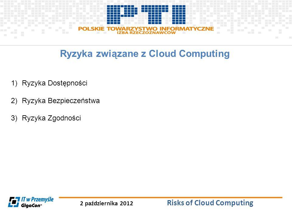 2 października 2012 Risks of Cloud Computing Ryzyka związane z Cloud Computing 1)Ryzyka Dostępności 2)Ryzyka Bezpieczeństwa 3)Ryzyka Zgodności