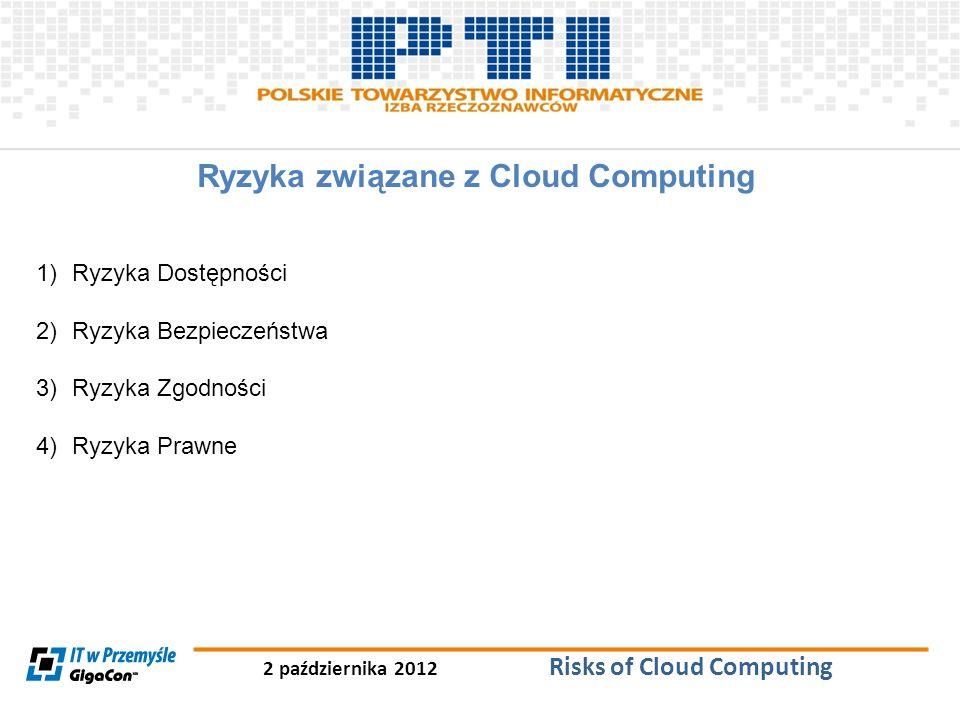 2 października 2012 Risks of Cloud Computing Ryzyka związane z Cloud Computing 1)Ryzyka Dostępności 2)Ryzyka Bezpieczeństwa 3)Ryzyka Zgodności 4)Ryzyk