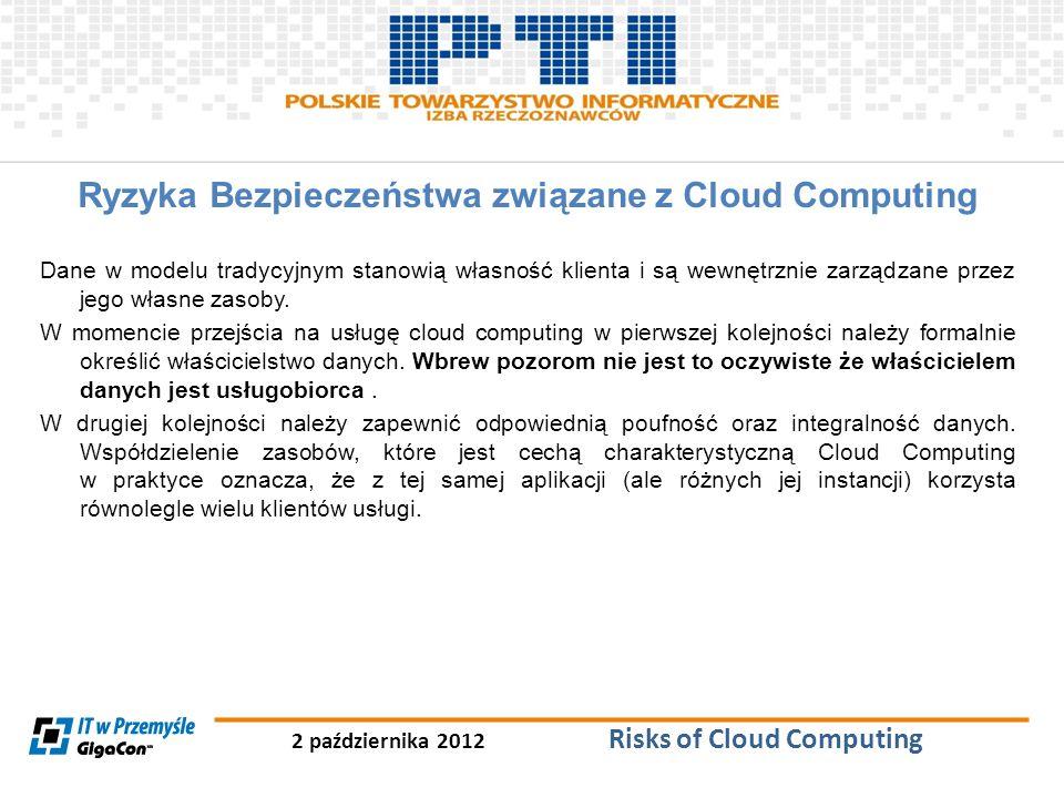 2 października 2012 Risks of Cloud Computing Ryzyka Bezpieczeństwa związane z Cloud Computing Dane w modelu tradycyjnym stanowią własność klienta i są