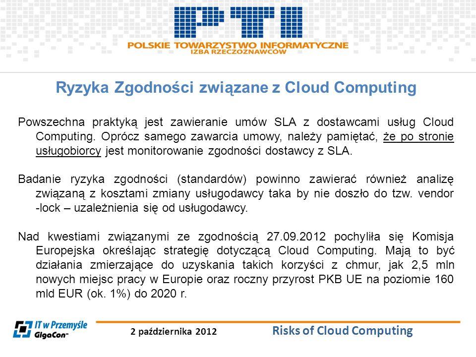 2 października 2012 Risks of Cloud Computing Ryzyka Zgodności związane z Cloud Computing Powszechna praktyką jest zawieranie umów SLA z dostawcami usł