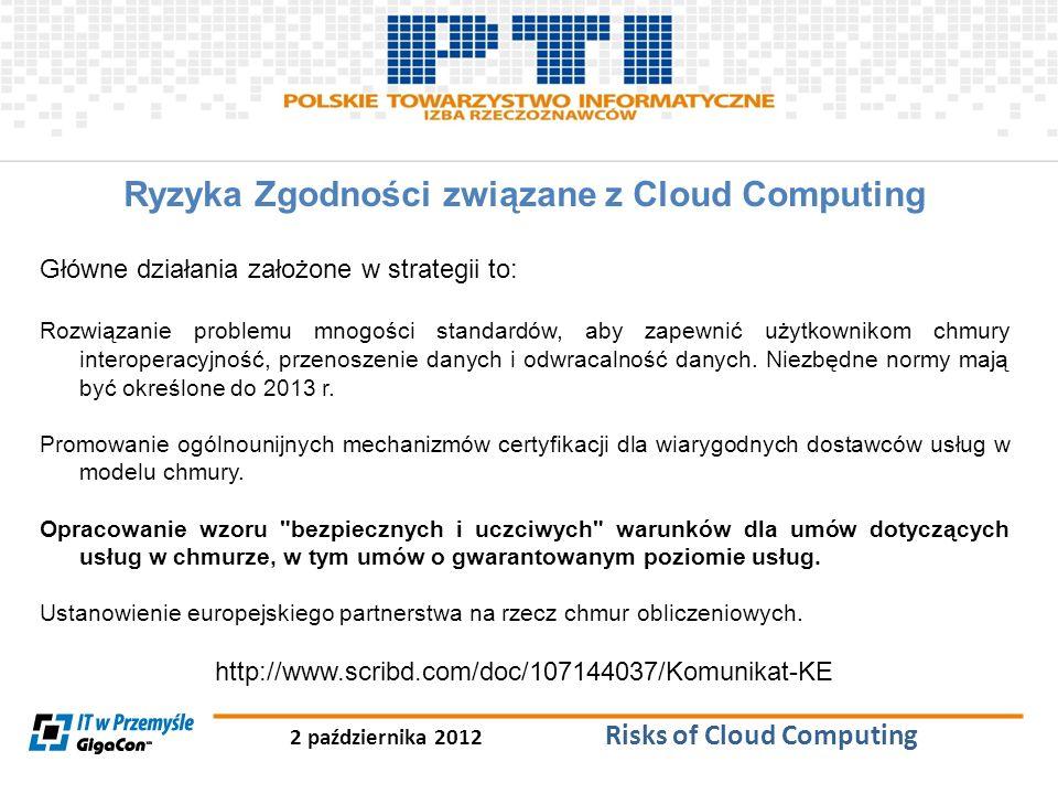 2 października 2012 Risks of Cloud Computing Ryzyka Zgodności związane z Cloud Computing Główne działania założone w strategii to: Rozwiązanie problem