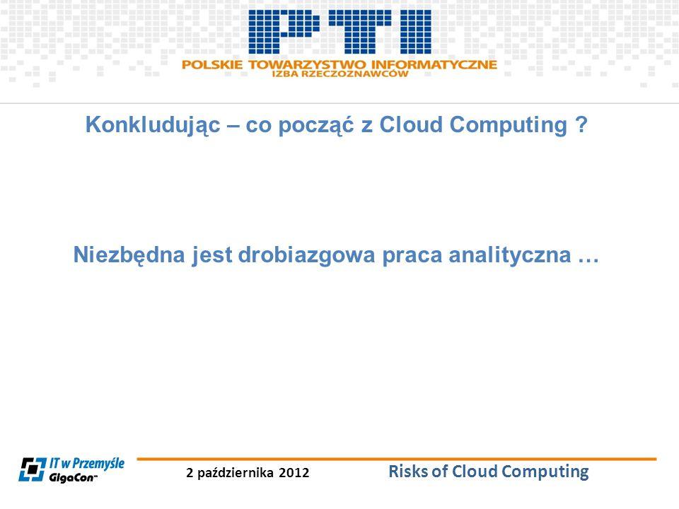 2 października 2012 Risks of Cloud Computing Konkludując – co począć z Cloud Computing ? Niezbędna jest drobiazgowa praca analityczna …