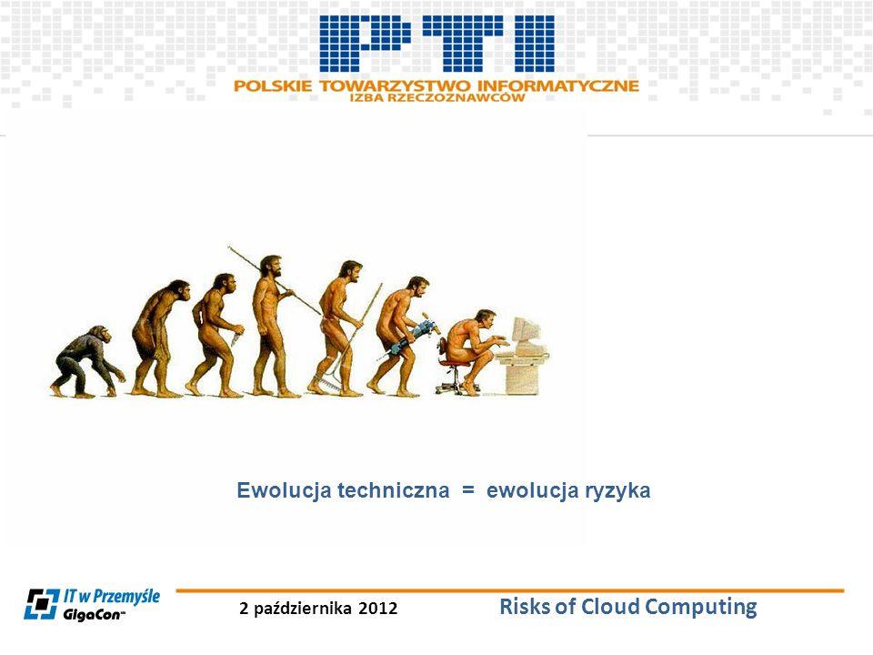 2 października 2012 Risks of Cloud Computing Ryzyka Bezpieczeństwa związane z Cloud Computing Dane w modelu tradycyjnym stanowią własność klienta i są wewnętrznie zarządzane przez jego własne zasoby.