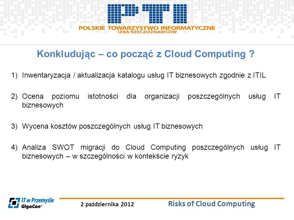 2 października 2012 Risks of Cloud Computing Konkludując – co począć z Cloud Computing ? 1)Inwentaryzacja / aktualizacja katalogu usług IT biznesowych