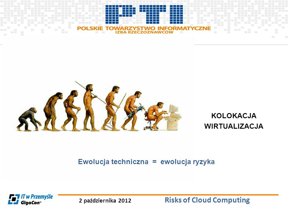 2 października 2012 Risks of Cloud Computing LEASING KOLOKACJA WIRTUALIZACJA Ewolucja techniczna = ewolucja ryzyka