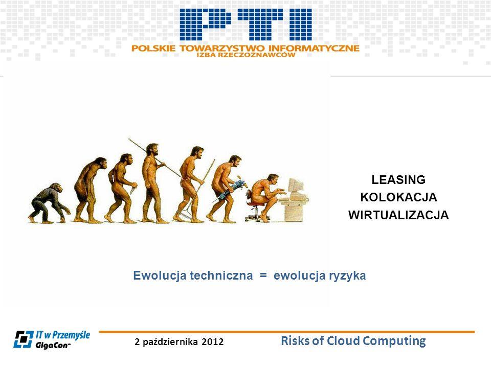 2 października 2012 Risks of Cloud Computing Case Study awarii e24cloud.com Wnioski 1)Korzystanie z Cloud Computing nie daje 99,9% pewności zapewnienia ciągłości działania 2)Korzystanie z Cloud Computing nie daje 99,9% pewności poprawnego Disaster Recovery