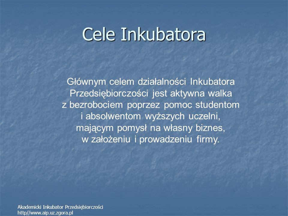 Akademicki Inkubator Przedsiębiorczości http//www.aip.uz.zgora.pl Cele Inkubatora Głównym celem działalności Inkubatora Przedsiębiorczości jest aktywn