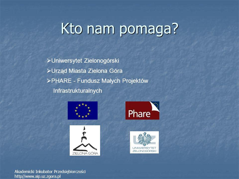 Akademicki Inkubator Przedsiębiorczości http//www.aip.uz.zgora.pl Kto nam pomaga? Uniwersytet Zielonogórski Urząd Miasta Zielona Góra PHARE - Fundusz