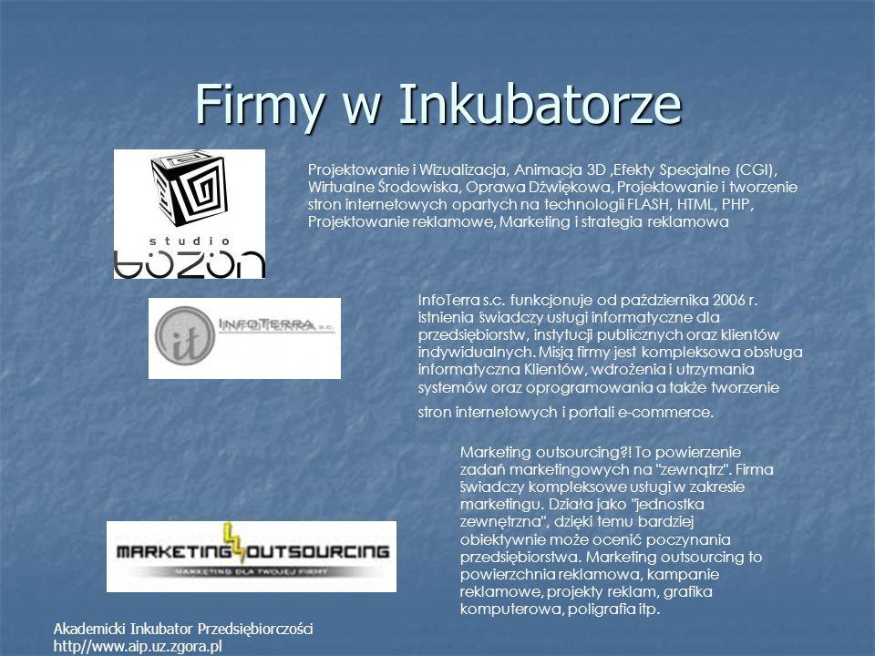 Firmy w Inkubatorze Akademicki Inkubator Przedsiębiorczości http//www.aip.uz.zgora.pl Projektowanie i Wizualizacja, Animacja 3D,Efekty Specjalne (CGI)