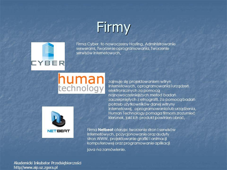 Firmy Akademicki Inkubator Przedsiębiorczości http//www.aip.uz.zgora.pl zajmuje się projektowaniem witryn internetowych, oprogramowania i urządzeń ele