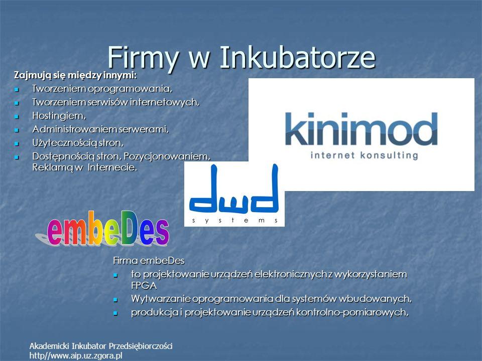 Firmy w Inkubatorze Zajmują się między innymi: Tworzeniem oprogramowania, Tworzeniem oprogramowania, Tworzeniem serwisów internetowych, Tworzeniem ser