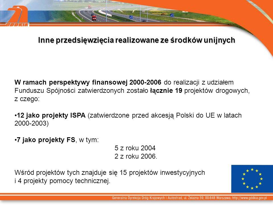 Inne przedsięwzięcia realizowane ze środków unijnych W ramach perspektywy finansowej 2000-2006 do realizacji z udziałem Funduszu Spójności zatwierdzonych zostało łącznie 19 projektów drogowych, z czego: 12 jako projekty ISPA (zatwierdzone przed akcesją Polski do UE w latach 2000-2003) 7 jako projekty FS, w tym: 5 z roku 2004 2 z roku 2006.