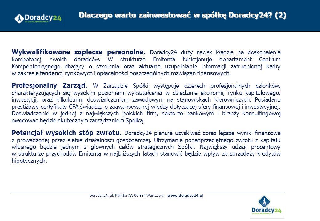 Doradcy24, ul. Pańska 73, 00-834 Warszawa www.doradcy24.pl Wykwalifikowane zaplecze personalne. Doradcy24 duży nacisk kładzie na doskonalenie kompeten
