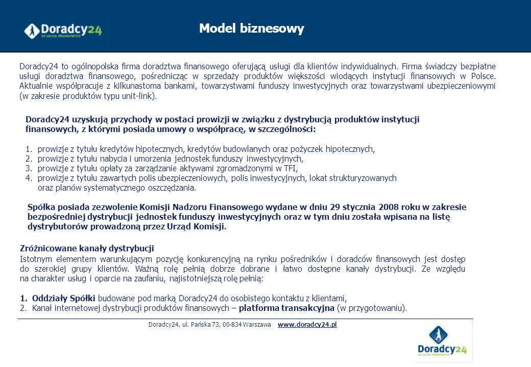 Doradcy24, ul. Pańska 73, 00-834 Warszawa www.doradcy24.pl Model biznesowy Zróżnicowane kanały dystrybucji Istotnym elementem warunkującym pozycję kon