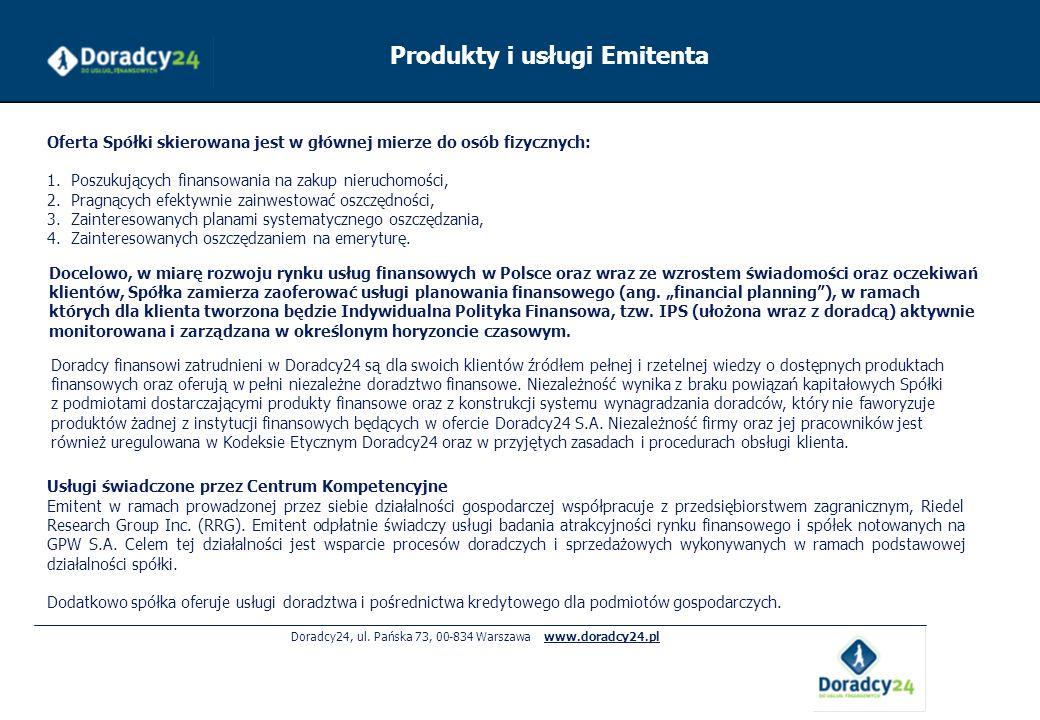 Doradcy24, ul. Pańska 73, 00-834 Warszawa www.doradcy24.pl Usługi świadczone przez Centrum Kompetencyjne Emitent w ramach prowadzonej przez siebie dzi
