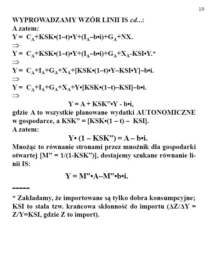 18 WYPROWADZAMY WZÓR LINII IS: AE PL = Y AE PL = C + I + G + NX. AE PL = Y AE PL = C A + KSK(1 – t) Y + (I A – bi) + G A + NX Y = C A + KSK(1 – t)Y +