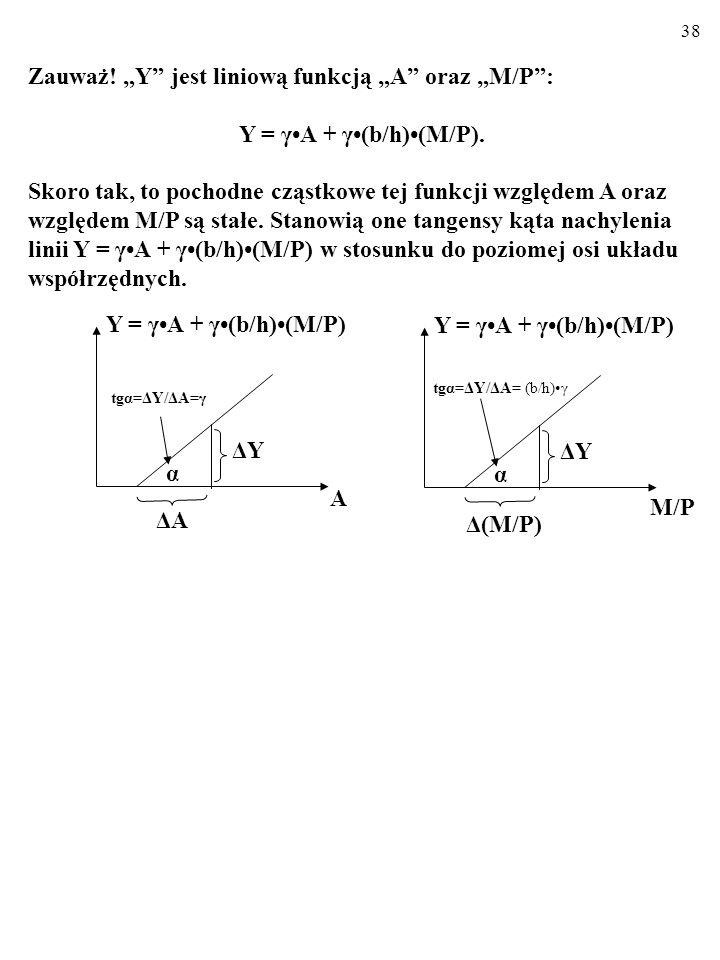 37 MNOŻNIK POLITYKI PIENIĘŻNEJ (ang. monetary policy multiplier) Jak wiemy: Y = γA + γ(b/h)(M/P) i = γAk/h - [1/(h+kbM)](M/P), gdzie: γ = M/[1+(kMb)/h
