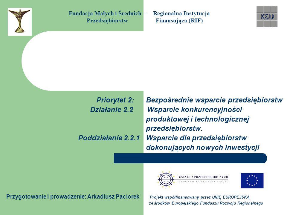 Priorytet 2: Bezpośrednie wsparcie przedsiębiorstw Działanie 2.2 Wsparcie konkurencyjności produktowej i technologicznej przedsiębiorstw. Poddziałanie
