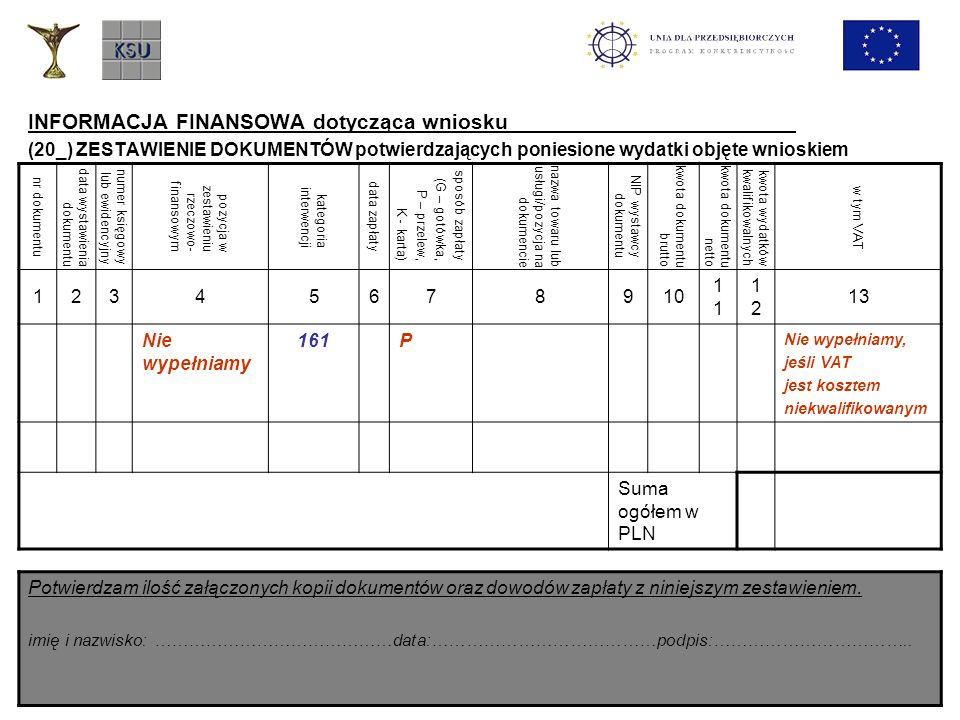 INFORMACJA FINANSOWA dotycząca wniosku (20_) ZESTAWIENIE DOKUMENTÓW potwierdzających poniesione wydatki objęte wnioskiem nr dokumentu data wystawienia