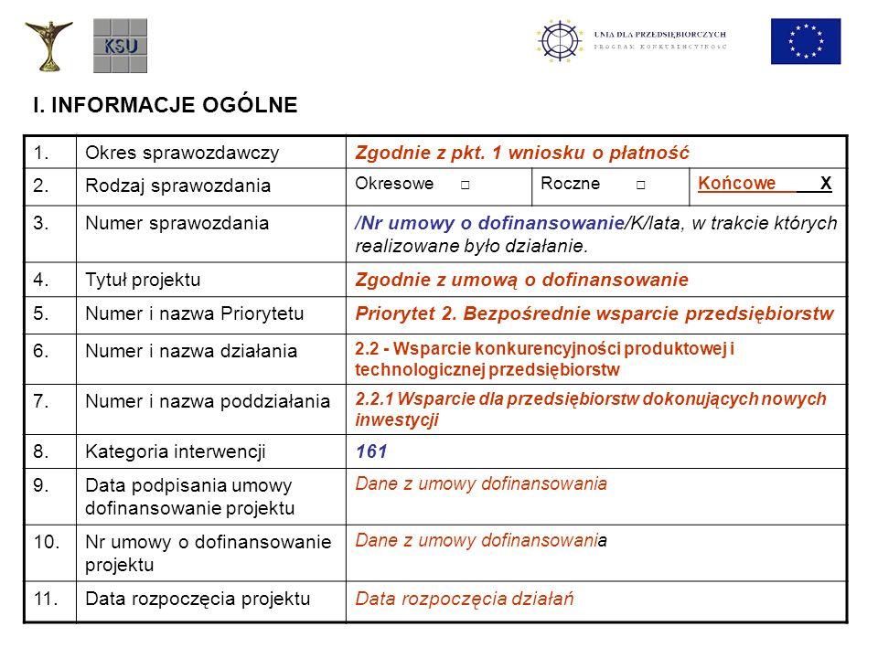 I. INFORMACJE OGÓLNE 1.Okres sprawozdawczyZgodnie z pkt. 1 wniosku o płatność 2.Rodzaj sprawozdania Okresowe Roczne Końcowe X 3.Numer sprawozdania/Nr