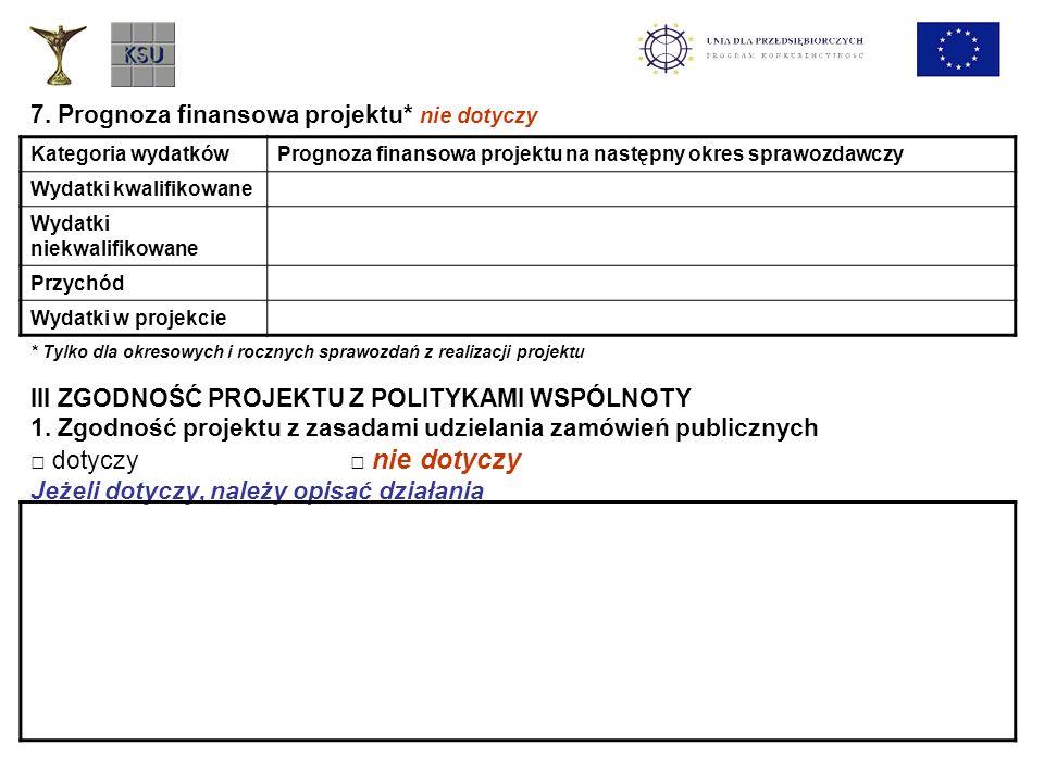7. Prognoza finansowa projektu* nie dotyczy * Tylko dla okresowych i rocznych sprawozdań z realizacji projektu III ZGODNOŚĆ PROJEKTU Z POLITYKAMI WSPÓ