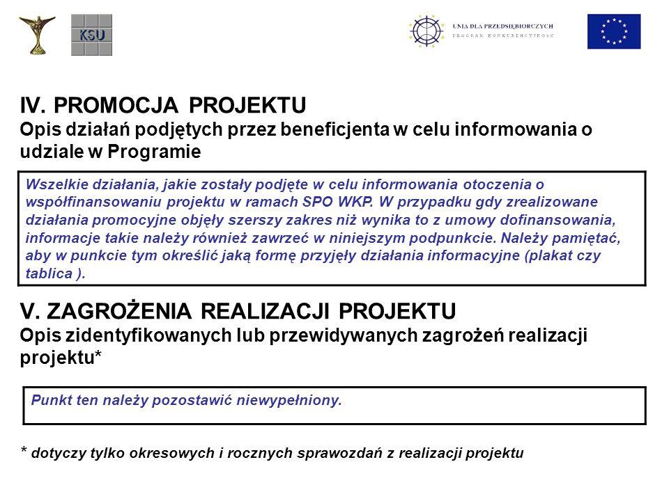 IV. PROMOCJA PROJEKTU Opis działań podjętych przez beneficjenta w celu informowania o udziale w Programie V. ZAGROŻENIA REALIZACJI PROJEKTU Opis ziden