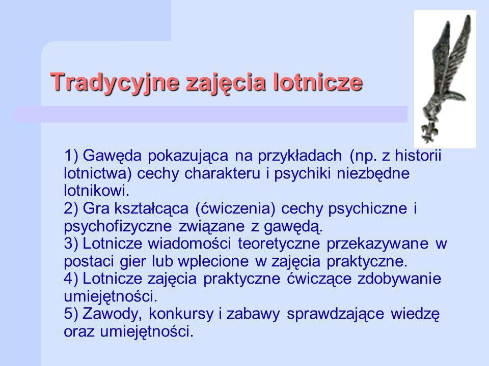 Tradycyjne zajęcia lotnicze 1) Gawęda pokazująca na przykładach (np. z historii lotnictwa) cechy charakteru i psychiki niezbędne lotnikowi. 2) Gra ksz