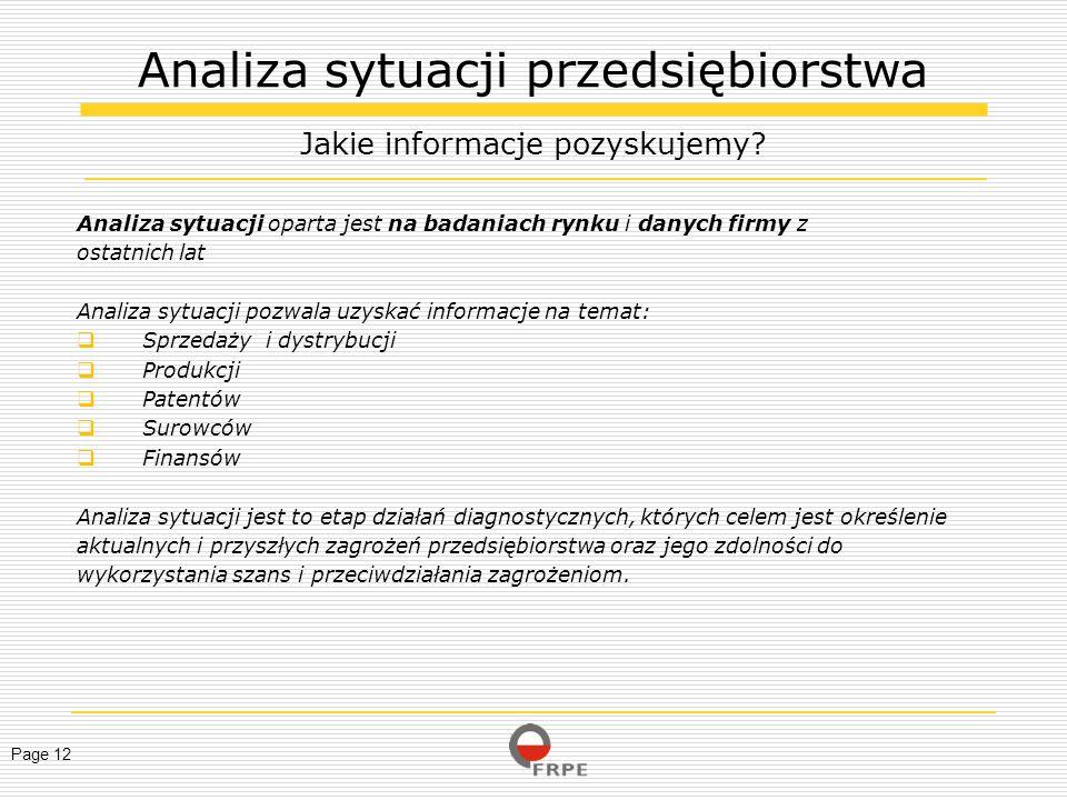 Page 12 Analiza sytuacji oparta jest na badaniach rynku i danych firmy z ostatnich lat Analiza sytuacji pozwala uzyskać informacje na temat: Sprzedaży