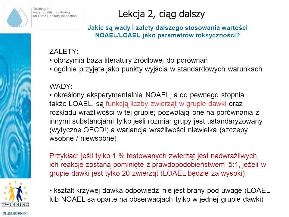 Jakie są wady i zalety dalszego stosowania wartości NOAEL/LOAEL jako parametrów toksyczności? Lekcja 2, ciąg dalszy PL/06/IB/EN/01 ZALETY: olbrzymia b