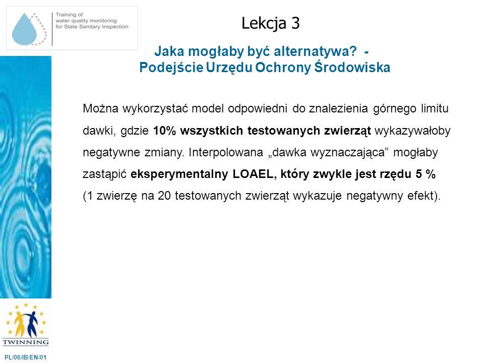 Lekcja 3 PL/06/IB/EN/01 Jaka mogłaby być alternatywa? - Podejście Urzędu Ochrony Środowiska Można wykorzystać model odpowiedni do znalezienia górnego