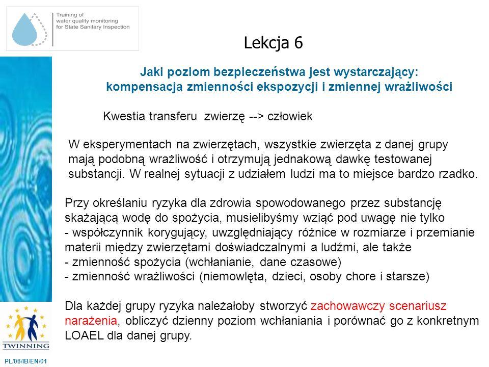 Jaki poziom bezpieczeństwa jest wystarczający: kompensacja zmienności ekspozycji i zmiennej wrażliwości Lekcja 6 PL/06/IB/EN/01 W eksperymentach na zw
