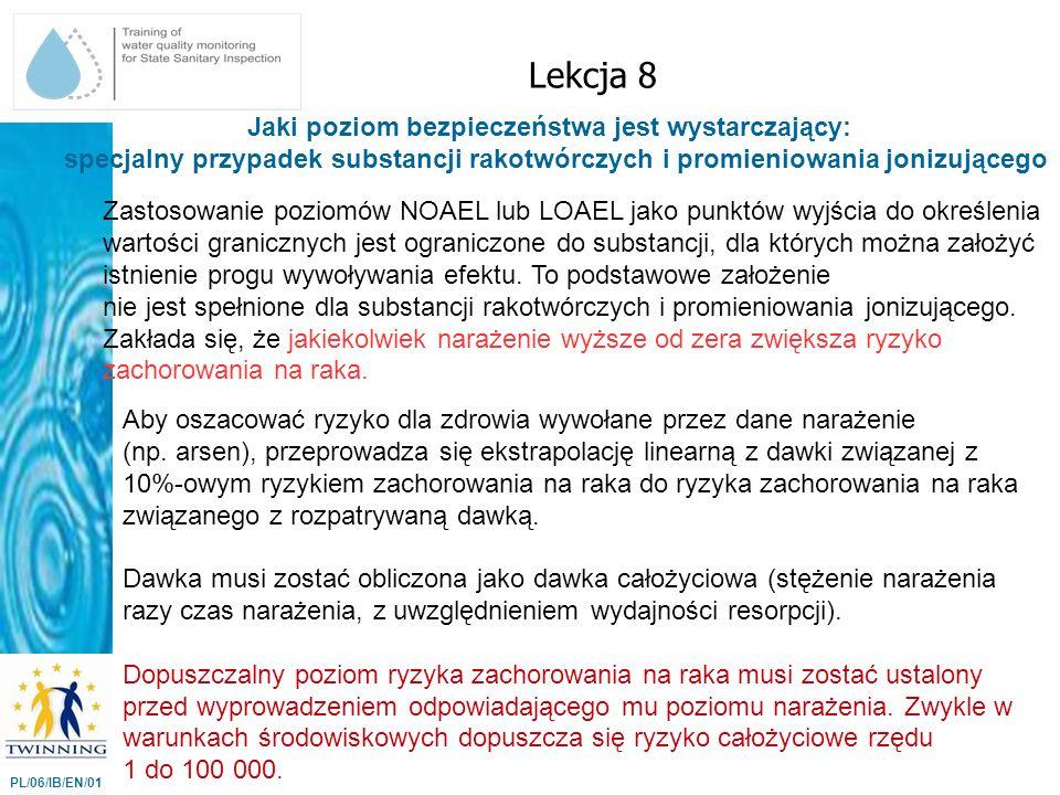 Jaki poziom bezpieczeństwa jest wystarczający: specjalny przypadek substancji rakotwórczych i promieniowania jonizującego Lekcja 8 PL/06/IB/EN/01 Zast