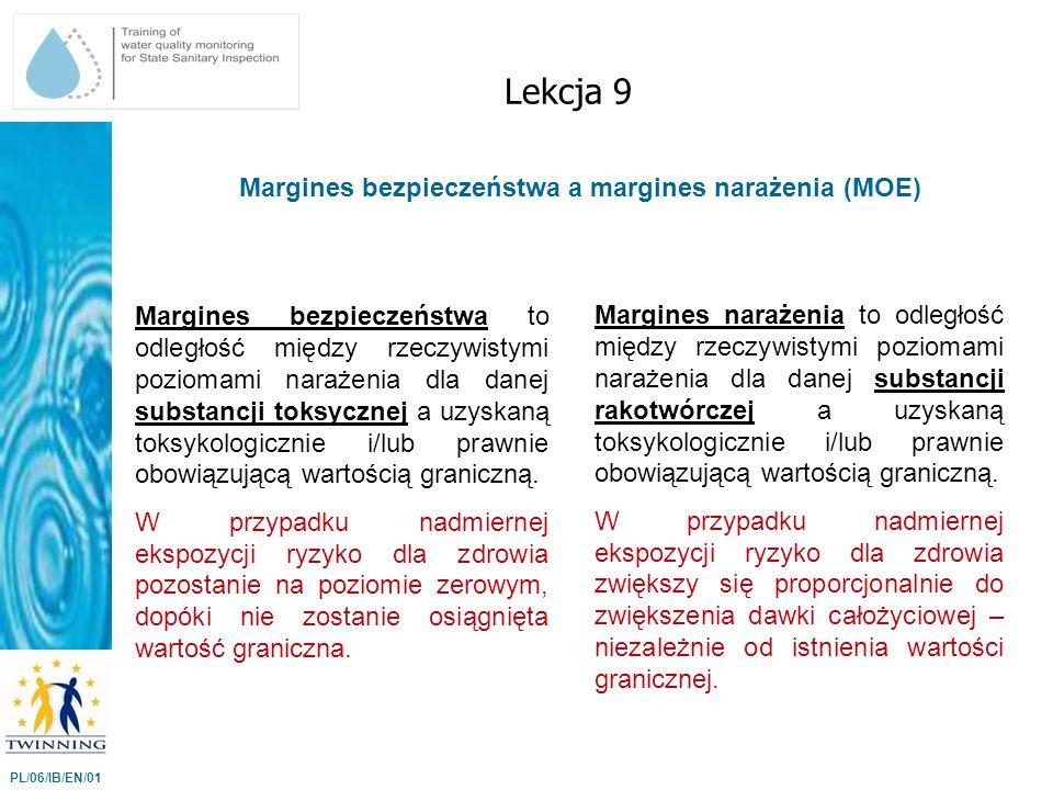 Margines bezpieczeństwa a margines narażenia (MOE) Lekcja 9 PL/06/IB/EN/01 Margines bezpieczeństwa to odległość między rzeczywistymi poziomami narażen