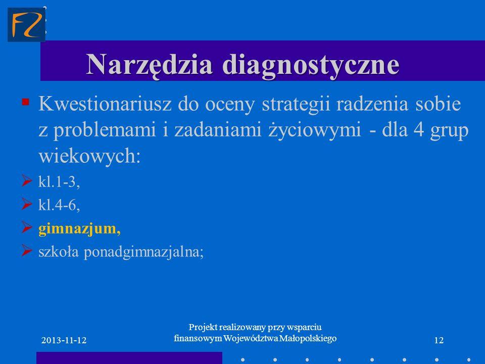 Narzędzia diagnostyczne Kwestionariusz do oceny strategii radzenia sobie z problemami i zadaniami życiowymi - dla 4 grup wiekowych: kl.1-3, kl.4-6, gi