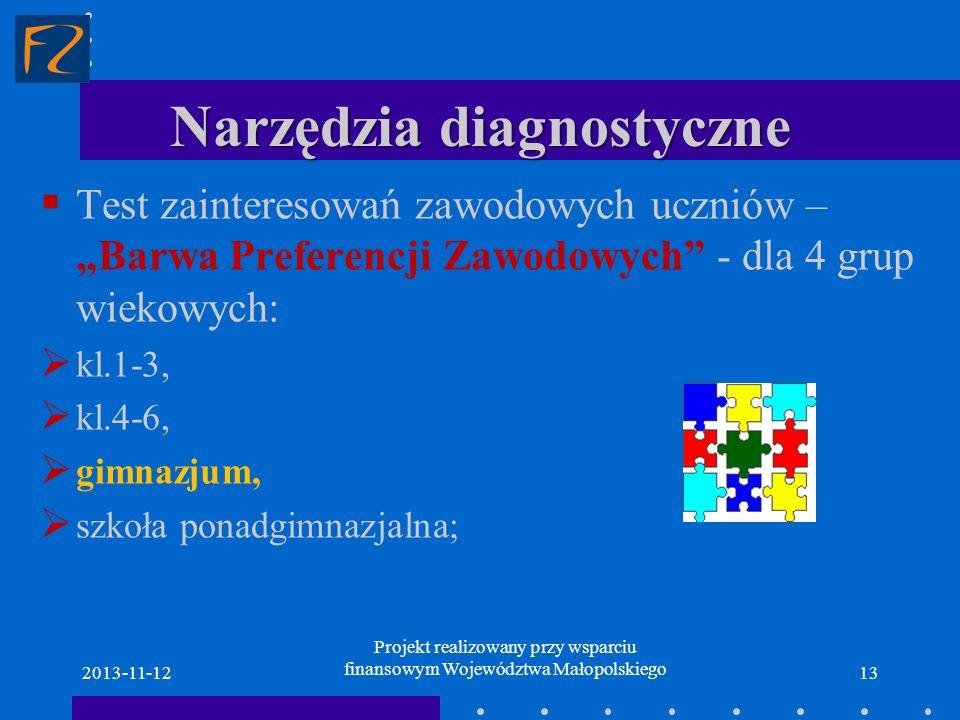 Narzędzia diagnostyczne Test zainteresowań zawodowych uczniów – Barwa Preferencji Zawodowych - dla 4 grup wiekowych: kl.1-3, kl.4-6, gimnazjum, szkoła