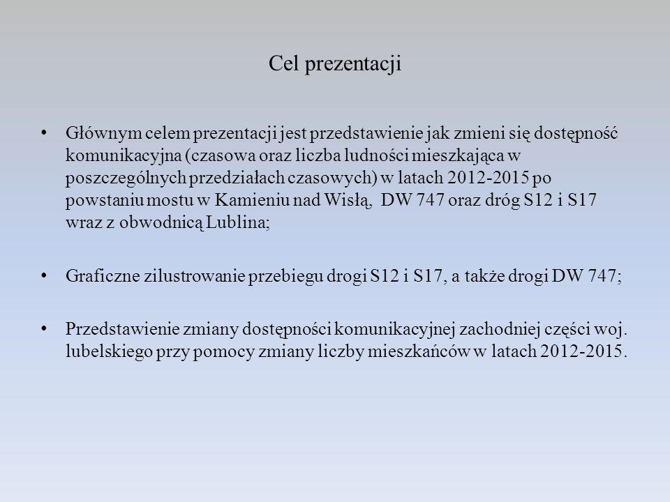 Cel prezentacji Głównym celem prezentacji jest przedstawienie jak zmieni się dostępność komunikacyjna (czasowa oraz liczba ludności mieszkająca w posz