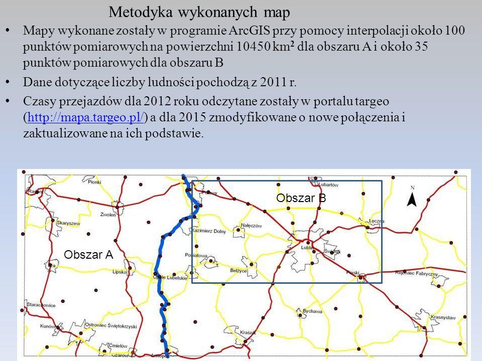 Metodyka wykonanych map Mapy wykonane zostały w programie ArcGIS przy pomocy interpolacji około 100 punktów pomiarowych na powierzchni 10450 km 2 dla