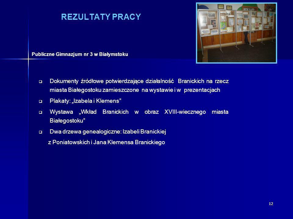 12 REZULTATY PRACY Dokumenty źródłowe potwierdzające działalność Branickich na rzecz miasta Białegostoku zamieszczone na wystawie i w prezentacjach Pl