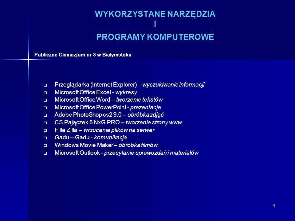 4 WYKORZYSTANE NARZĘDZIA I PROGRAMY KOMPUTEROWE Przeglądarka (Internet Explorer) – wyszukiwanie informacji Microsoft Office Excel - wykresy Microsoft