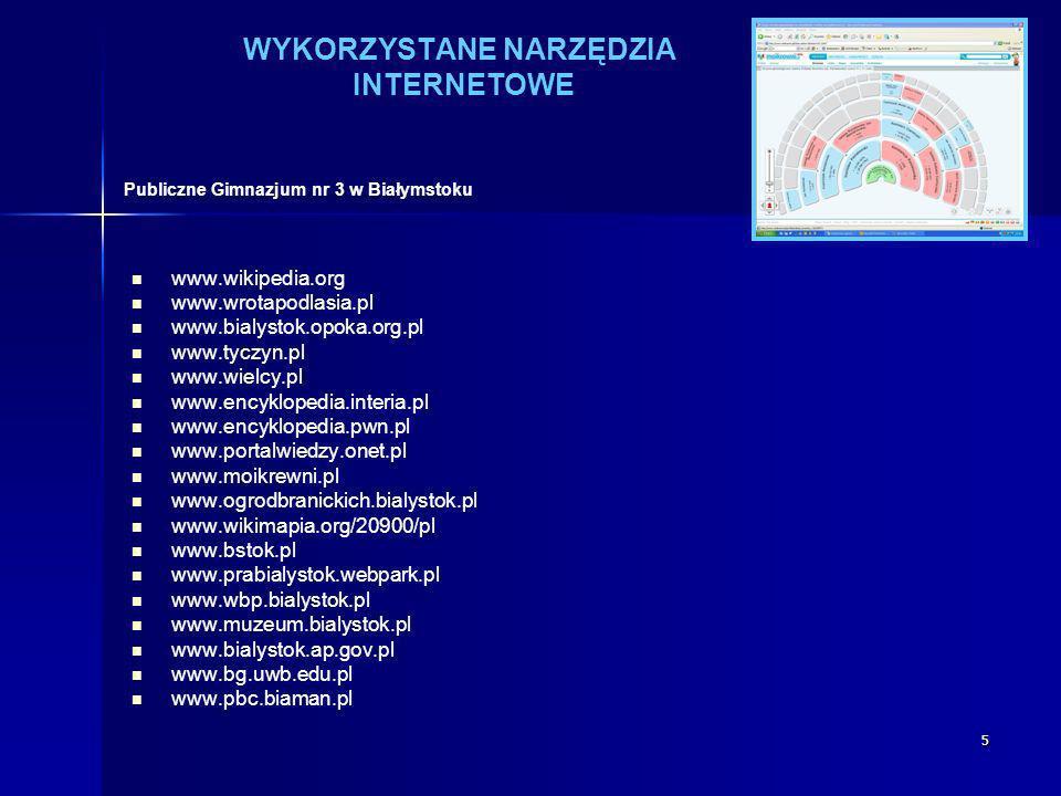 5 WYKORZYSTANE NARZĘDZIA INTERNETOWE www.wikipedia.org www.wrotapodlasia.pl www.bialystok.opoka.org.pl www.tyczyn.pl www.wielcy.pl www.encyklopedia.in