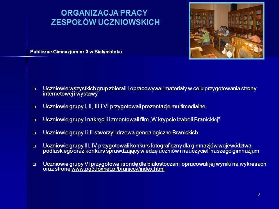 7 ORGANIZACJA PRACY ZESPOŁÓW UCZNIOWSKICH Uczniowie wszystkich grup zbierali i opracowywali materiały w celu przygotowania strony internetowej i wysta