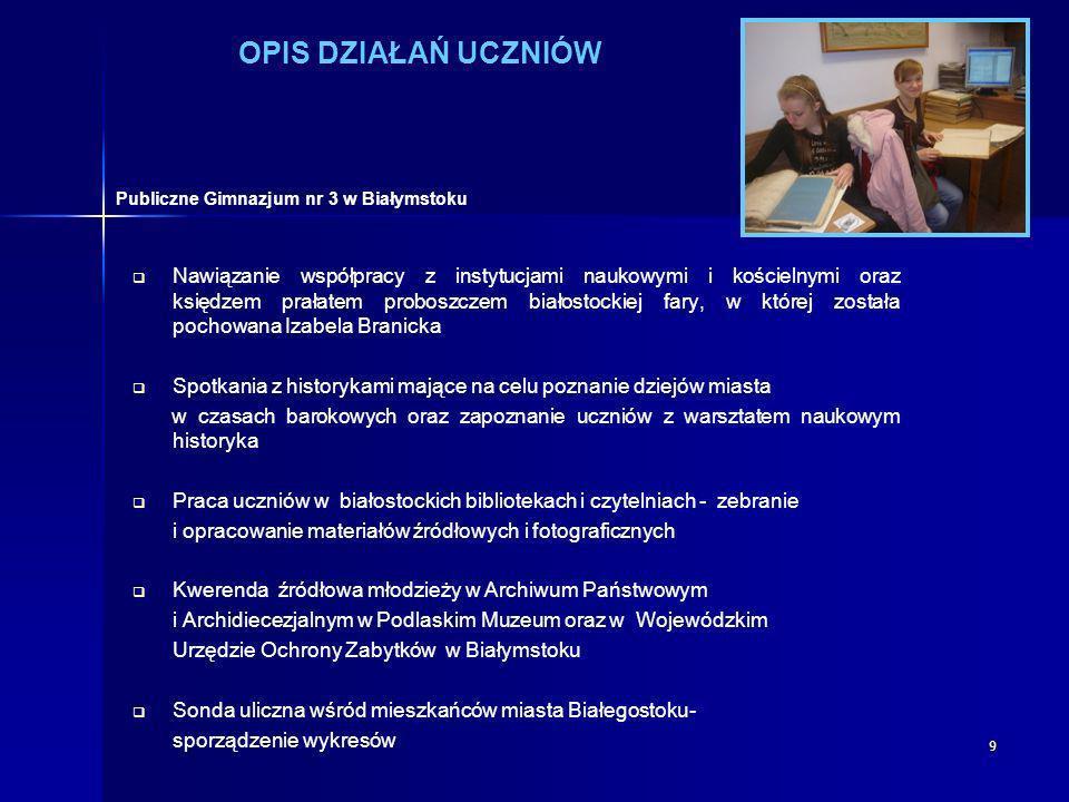 9 OPIS DZIAŁAŃ UCZNIÓW Nawiązanie współpracy z instytucjami naukowymi i kościelnymi oraz księdzem prałatem proboszczem białostockiej fary, w której zo