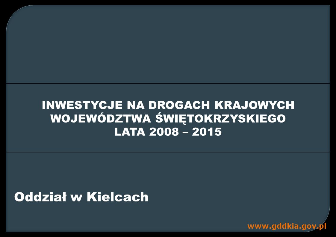 www.gddkia.gov.pl GDDKiA Oddział w Kielcach administruje siecią o długości 732,568 km Klasa drogi Granice administracyjne Ogółem miastopozamiejskie S3,0552 6,31429,369 GP74,34641 2, 917 487,263 G31,257184,679215,936 108,658623,910732,568