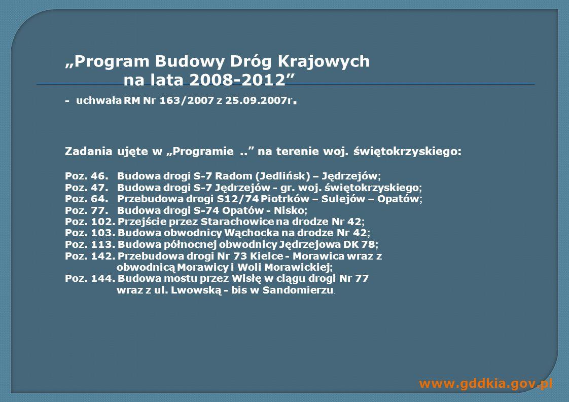 www.gddkia.gov.pl Program Budowy Dróg Krajowych na lata 2008-2012 - uchwała RM Nr 163/2007 z 25.09.2007r.